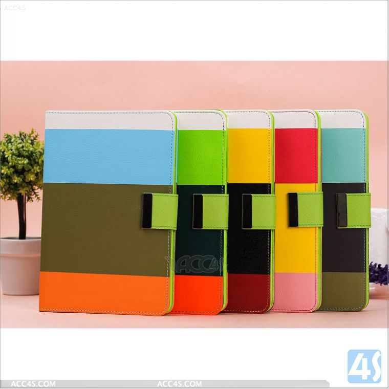 Couple Color Wallet Style Tablet Leather Case with Stand for iPad Mini 2 P-APPIPDM2STDPUCASE001