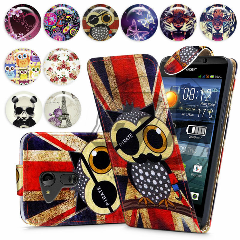 For Acer Liquid E700 High Quality Print Flip PU Leather Case Cover Moible Phone Csae