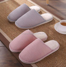 Unisex Home Anti-slip Shoes Soft Winter Warm House Indoor Cotton Couple Slippers