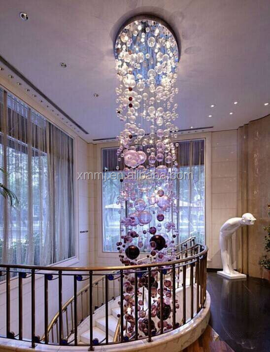 Handmade blowing art murano glass bubble ball hotel decor tall ceiling hanging grape chandelier