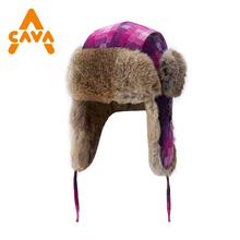Womans lady Winter Trapper Trooper Hunting Ushanka Ear Flap rabbit fur Hat for Ski Extreme Sports