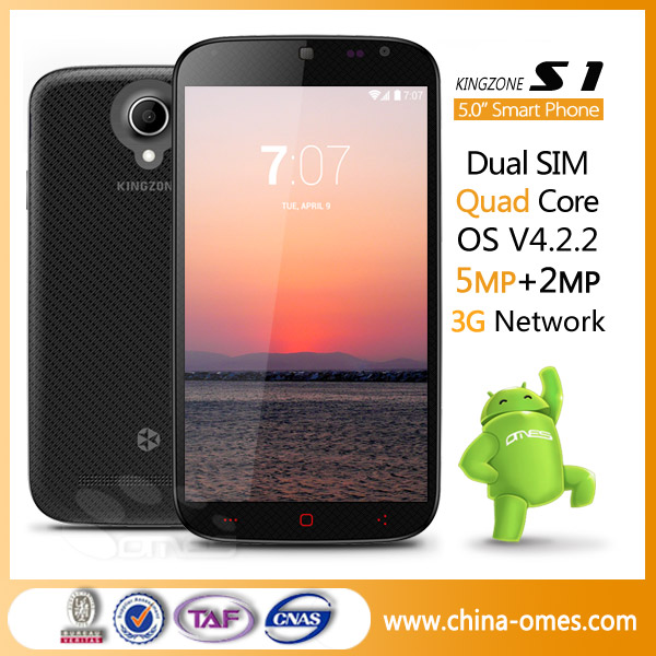"new arrival 5"" QHD IPS MTK6582 1G+4G quad core kingzone S1 smart android phone"