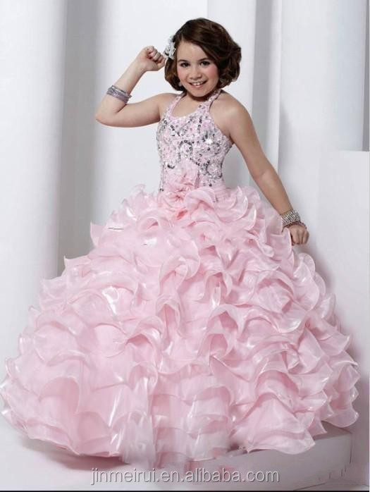 Blushing Pink Baby little Girl Ball Gown Little Pageant Dresses Scoop Beaded Hand made Ruffled Organza Flowergirl Dress