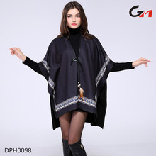 2016 women elegant plunge open front fabric long poncho