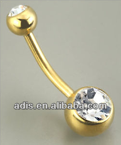 non-dangle titanium gold jeweled banana belly button piercings ring