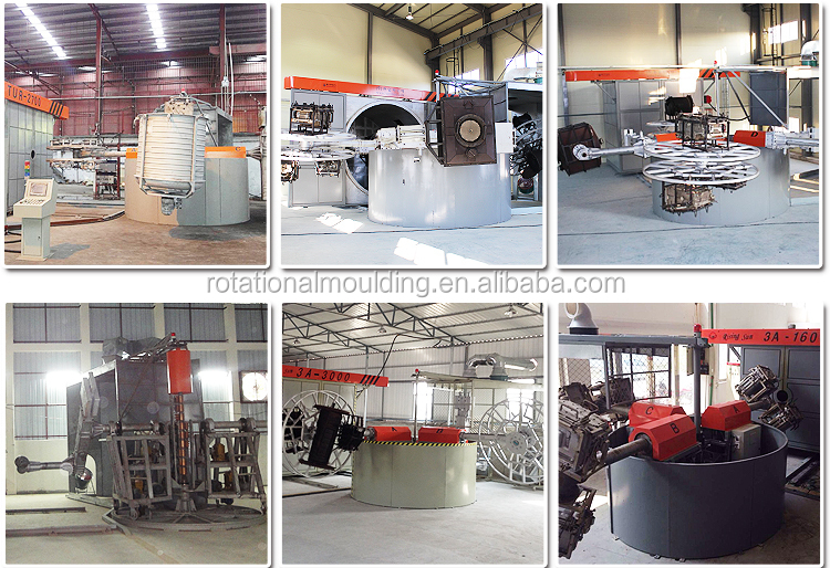 Rising sun 3 arms 4 working stations carrousel type CE certificated small rotational molding machine