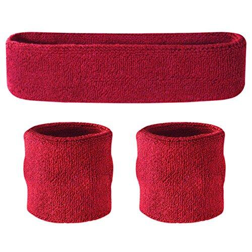 Sport Sweatband Set for protecting joint - (1 Headband and 2 Wristbands) High Quality Cotton for Sports & More