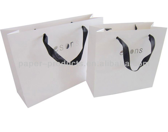 high quality cream grey paper gift shopping bag with ribbon handle