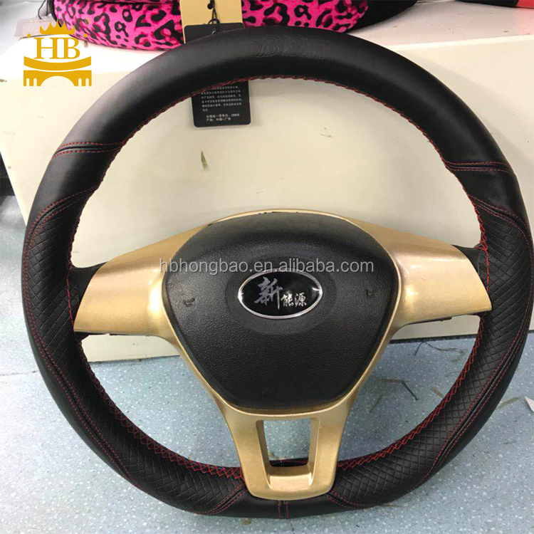 DIY sewing 7 colors PU leather steering wheel cover with needle