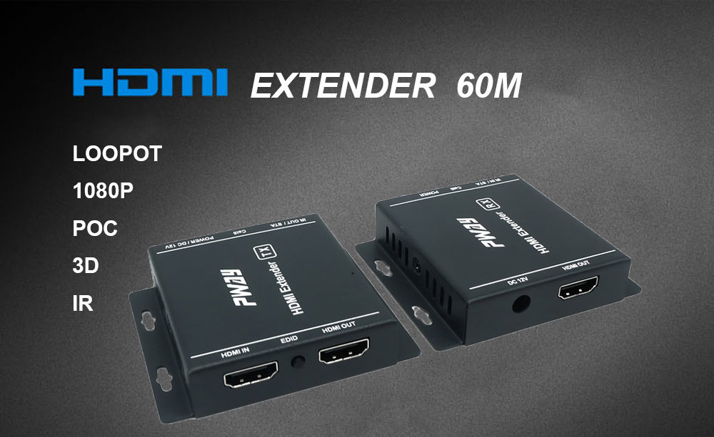 PWAY 60M HDMI Extender With Loopot & IR Resolution up to 1920*1080@60hz HT217