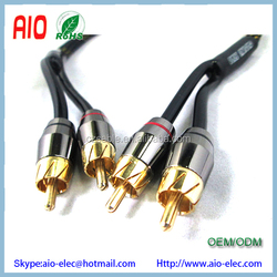 wholesale 8mm 2 RCA to 2RCA Male to Male Gold plated ends RCA cable