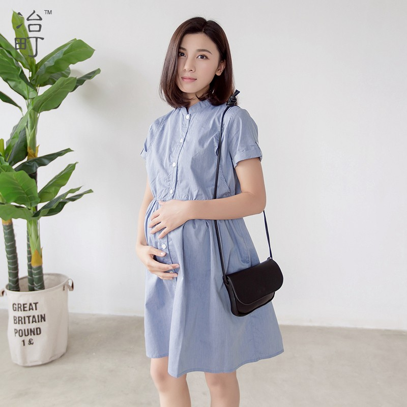 Hot sale korean style beautiful long lady maternity party one-piece formal summer dresses for pregnant women