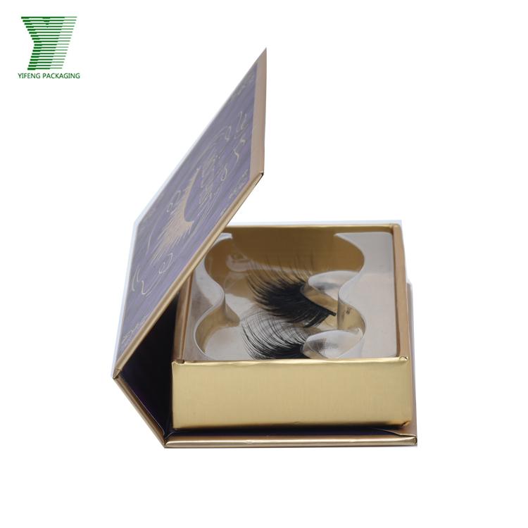 Luxury Gold Card Paper Eyelash Box, Custom Logo Flip Cover Gift Packaging With Plastic Tray