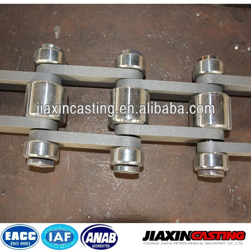 Cast link chain for heating furnace