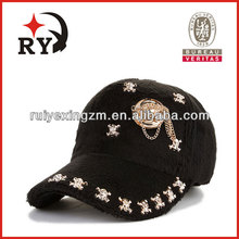 Artificial wool with metal accessories 5 panel women baseball cap
