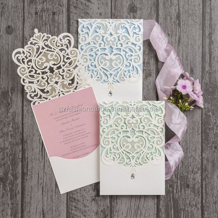 Latest Collection 2017 Royal White Scroll Wholesale Burlap Wedding Invitations with Embellishment
