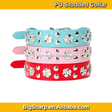 New Design Flowers Dog Collars Soft Leather Bling Flower Studded PU Collar Pets Event Necklace Dress Fit for Big Dogs PC5010
