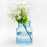 Wholesale cheap glass table vase blue bubble vase made in china