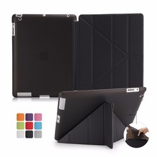 Smart Leather Cover for iPad 2/3/4 Soft TPU Back Bottom Case Multi Shapes Transformer Folding Case for iPad 2 3 4 Tablet Case