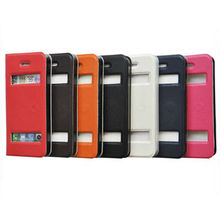 Flip smart leather case with window design factory pu leather sheath case for iphone 5