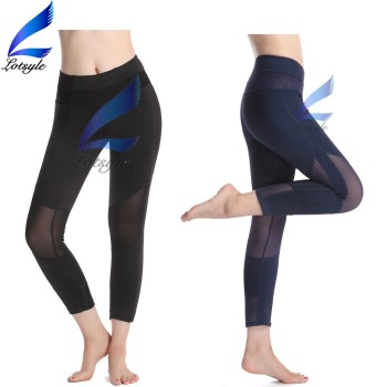 Lotsyle Short Yoga Pants Girls Running Leggings with Mesh Design