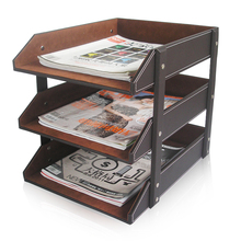 Office Desk File Tray Leather Letter Tray Organizer