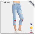 2017 fashion slim fit straight leg high waisted embroidered denim pants casual women's jeans