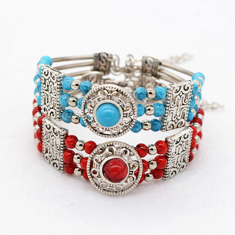 Tibet silver blue turquoise red agate Bracelet Trending Colorful Bohemia Multilayer Vintage Alloy Material bangle