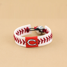 MLB Cincinnati Reds Red Leather/ Red Thread Team Color Baseball Bracelet