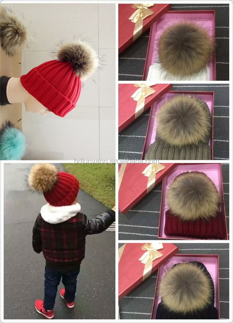 knitted hat fashion double pom pom faux fur hats adults