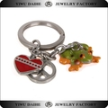 Daihe peace symbol red heart frog pendant keychain