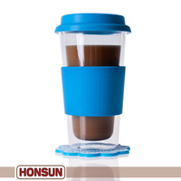 0 Risk! Eco-friendly mouth blown borosilicate glass coffee cup silicone cover
