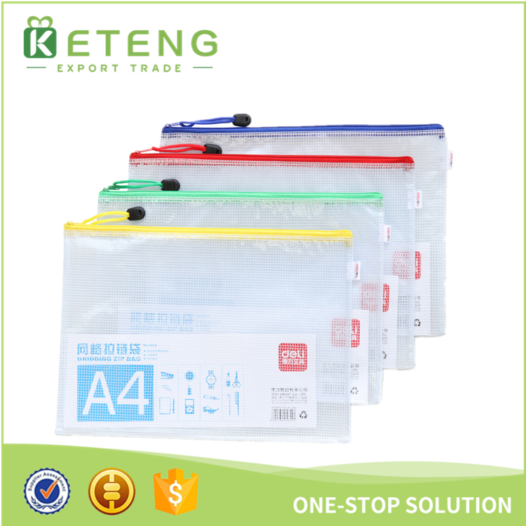 New arrival fancy design clear plastic zipper embossing cheque folder