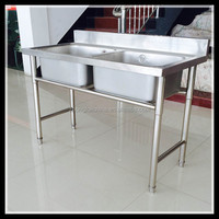 Factory price kitchen stainless steel sink work table, outdoor sink table, restaurant kitchen sink table