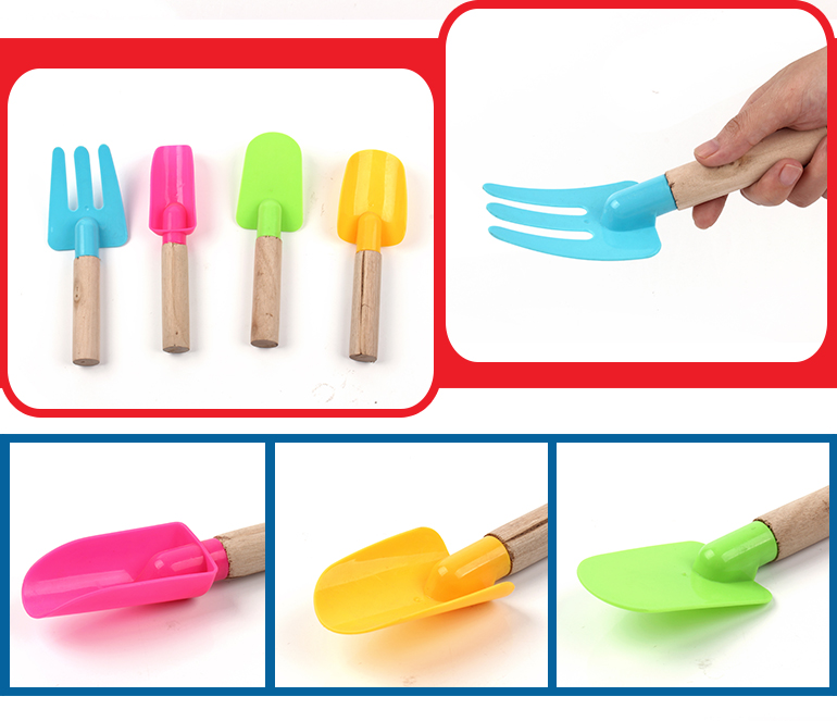 Best gifts 4 pcs kids mini sand toys plastic head beach shovel with wooden handle