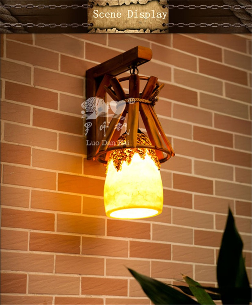 Egypt style bamboo and Resin crafts indoor wall lamp