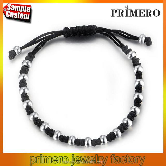 Fashion black Rope White Gold Plated Stainless Steel Bead Bracelets Bangles