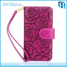 Pretty Girl S8 Phone Wallet Case Camellia , Tea Flower Leather Flip Case Cover for Samsung Galaxy S8 Plus