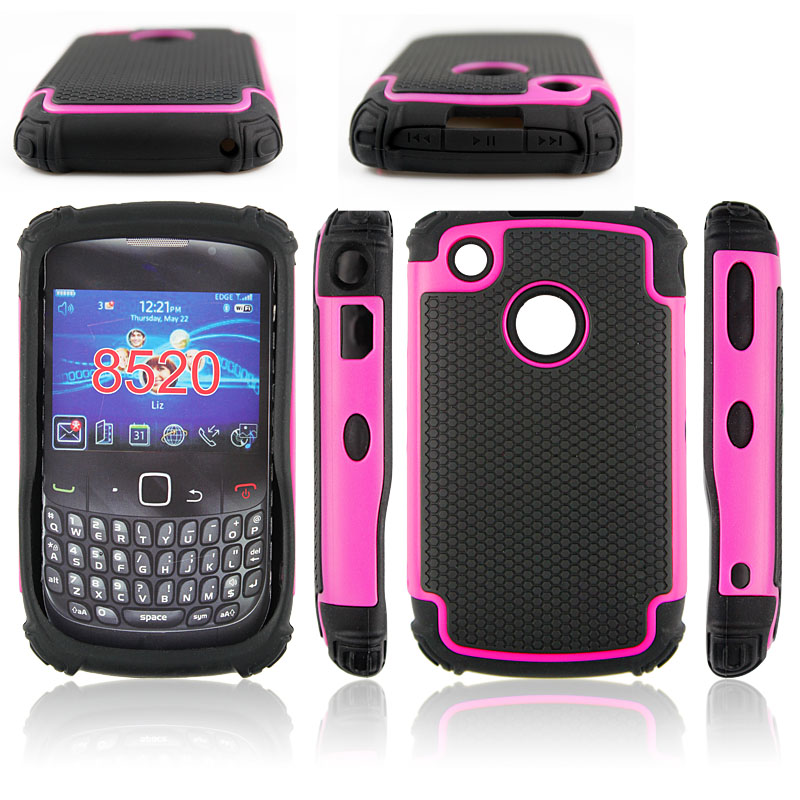 HARD SOFT COMBO HYBRID ARMOR CASE FOR BLACKBERRY CURVE 8520 BACK COVER