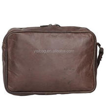 Genuine Leather Zip Closure Compact Leather Dop Kit Travel Toiletry Bag