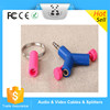 Hot sale3.5mm Mini Y Shape Phone MP3 MP4 Earphone Y design 3.5mm headphone adapter/Audio Headset Connector/Keyring Splitter