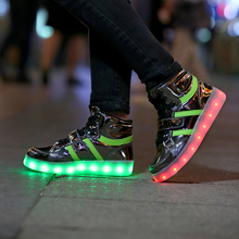 2016 hot selling wholesale kids high-cut light up shoes USB Charging light 7 color luminous led shoes for kids