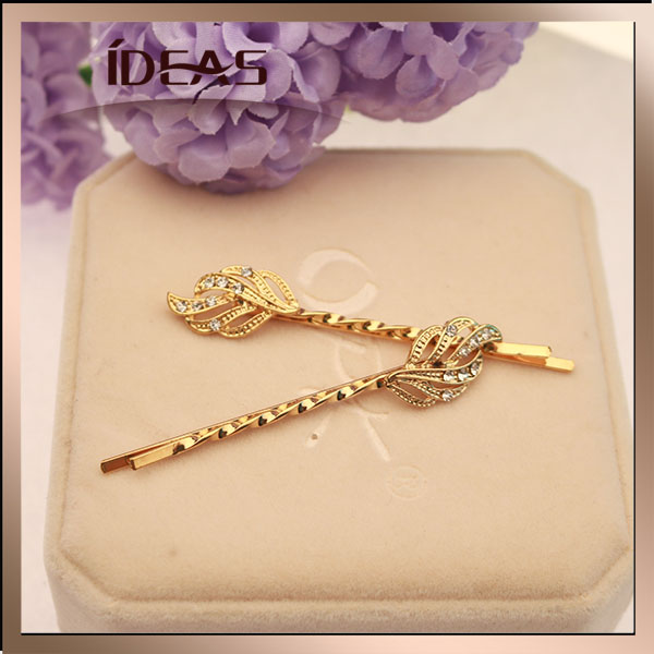 Hot Hair Accessories Vintage Gold Leaves Hair Clips for Gir