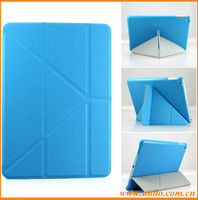Top selling cross pattern 10 folds transformers cover case for ipad air