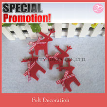 Red and white checkered fabric Bowknot Felt deer shaped xmas decoration
