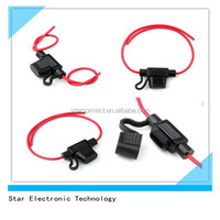Supplied plastic waterproof automobile inline blade fuse holder with red 14AWG wire 20V