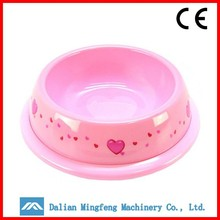 Pink insulated pet food dog water bowl plastic puppy bowl