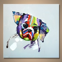 Wholesale Modern Handmade Wall Arts Decoration Dog Oil Painting
