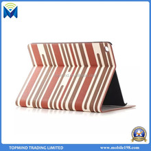 Wholesale Price Stripe Pattern Leather Flip Case Cover with Card Slot for iPad Air 2