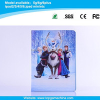 2015 New Arrival Cute Cartoon Character Frozen Leather Case For iPad 2 3 4